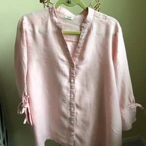 Soft Pink 100% linen blouse by Symple NY